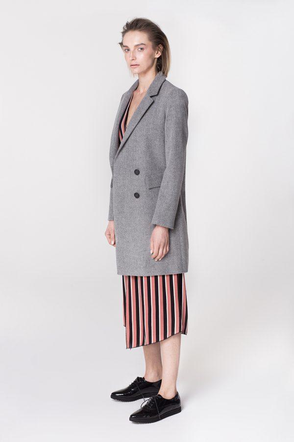 płaszcz wełniany dyplomatka dwurzędowa na podszewce w kolorze szary melanż