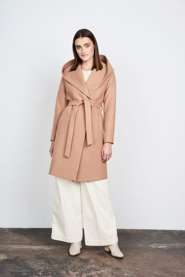 Winter womans coat with hood belted