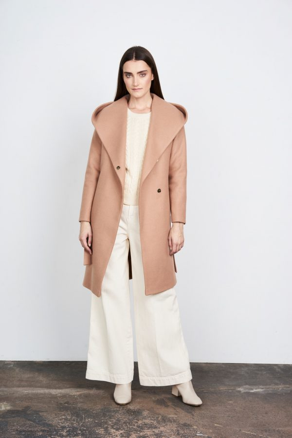 Woman winter coat with beautiful hood in camel color