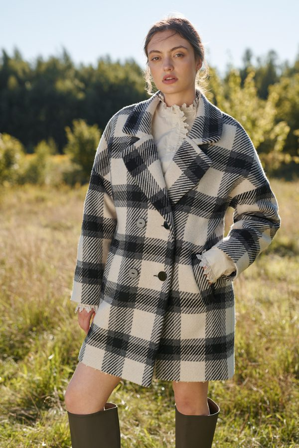 Damska kurtka krótki płaszczyk w kratę dwurzędowy na guziki