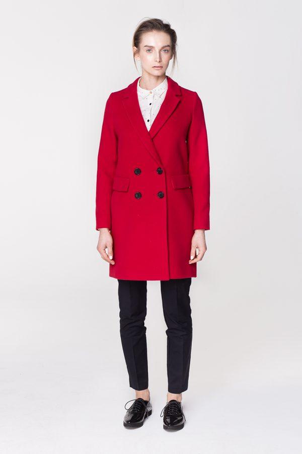 płaszcz wełniany dyplomatka klasyczna dwurzędowa w kolorze czerwonym