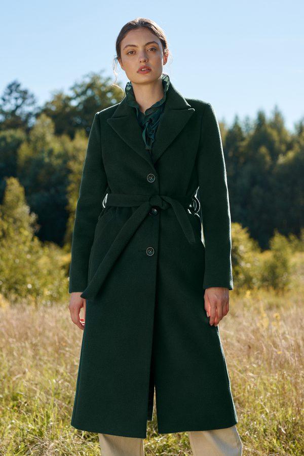 Długi klasyczny płaszcz z paskiem butelkowa zieleń