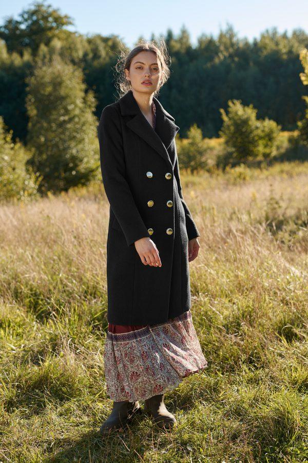 płaszcz damski dyplomatka w kolorze czarnym z alpaki