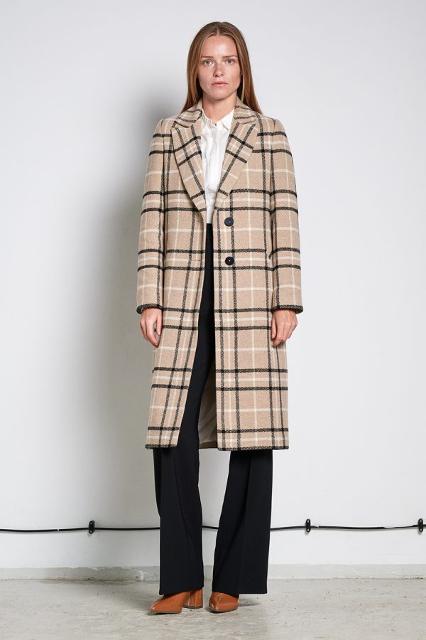 single breasted women coat with belt in camel check