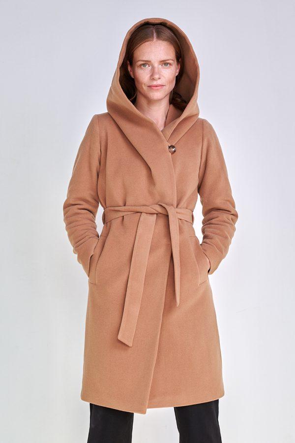 damski płaszcz z kapturem zimowy w kolorze kamel