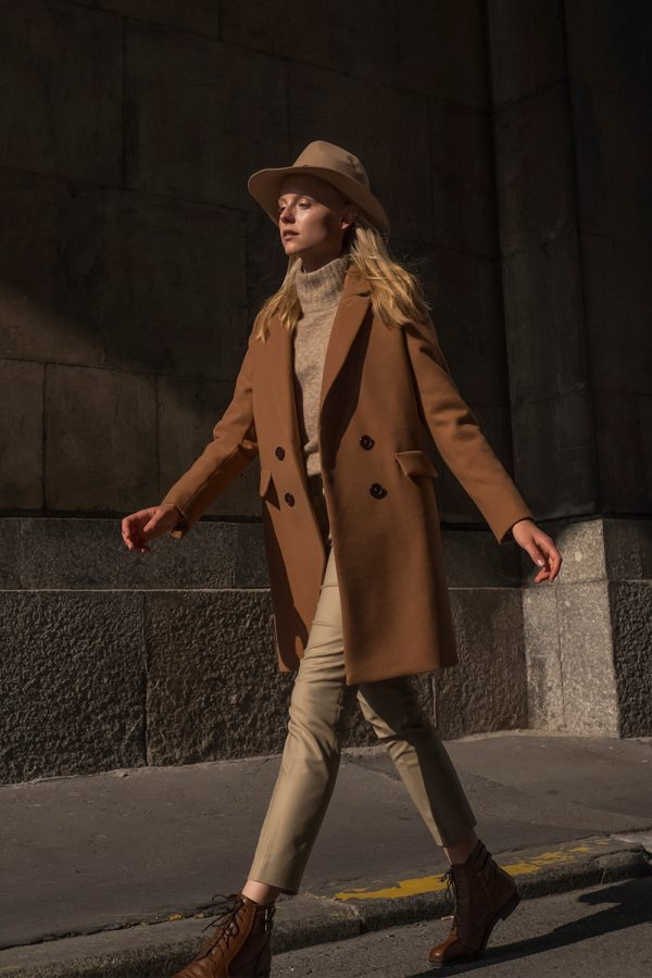 double-breasted spring coat in dark camel color