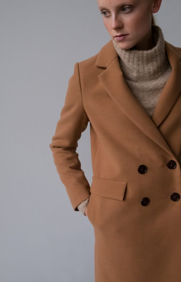 classic double-breasted wool women coat in the color of dark camel