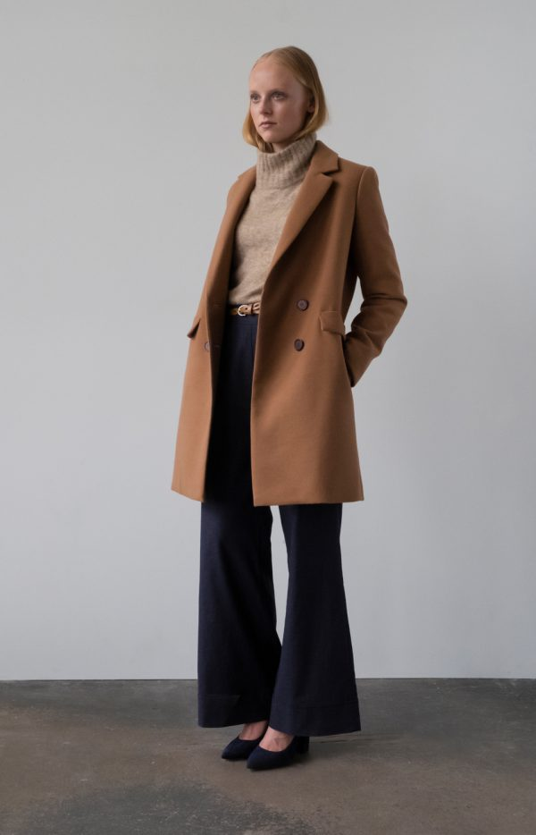 woolen double-breasted coat in dark camel color on the lining