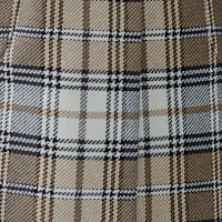 beige checked fabric with a blue thread