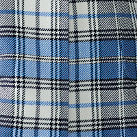 blue checked fabric with black thread