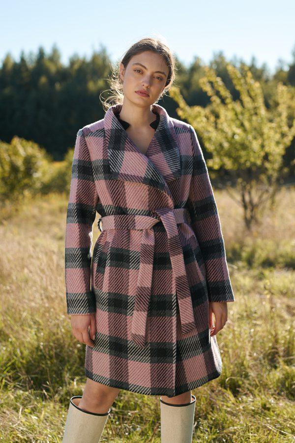 Płaszcz zimowy w kratę edycja limitowana płaszcza z dużym kołnierzem i wiązany w pasie