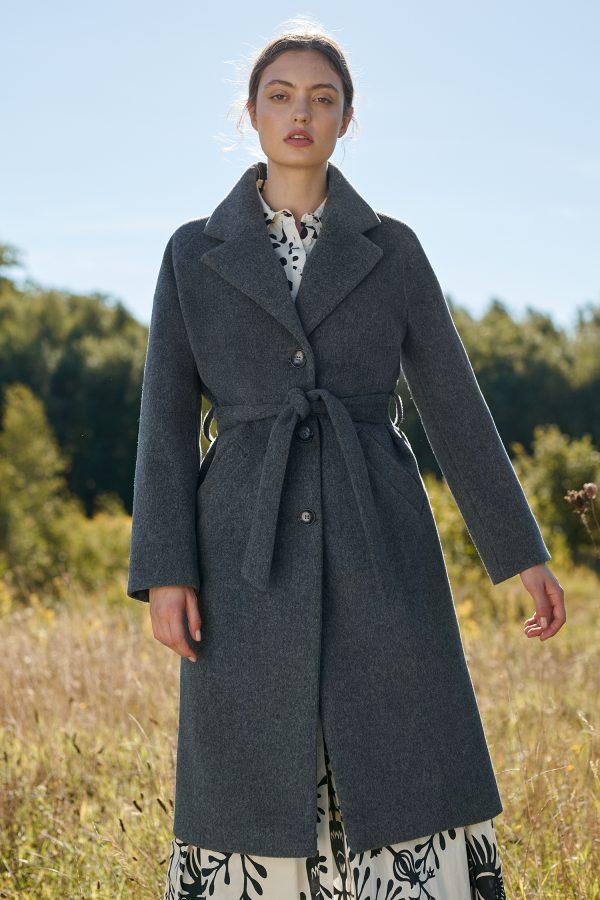 Zimowy luźny płaszcz raglan wiązany w pasie w kolorze ciemny popiel